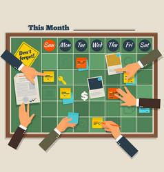 calendar schedule board with collaboration plan vector image vector image