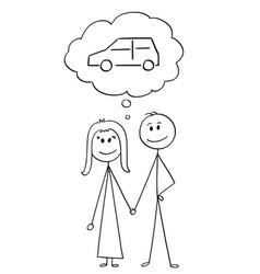 Cartoon of heterosexual couple of man and woman vector