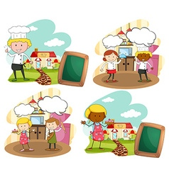 Chef and bakers at the workplace vector image