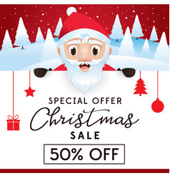 Christmas sale leaflet discount up to 50 percent vector