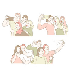 Classmates gathering or friends meeting selfie or vector