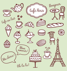 Collection of different bakery coffe and paris vector