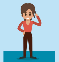 Color background of woman standing and talking in vector