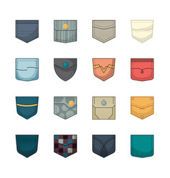 colored pockets patches and fabric pockets for vector image