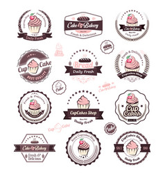 cupcake and bakery logo design template vector image