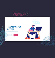 customer support service website landing page vector image
