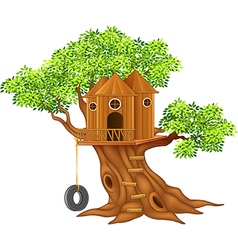 Cute small tree house vector image