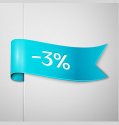 Cyan ribbon with text three percent for discount vector