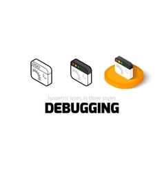 Debugging icon in different style vector