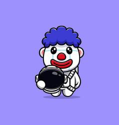 Design of cute clown astronaut character mascot vector