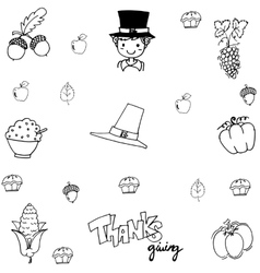 Doodle thanksgiving element vector image