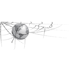 Earth entangled in spiderweb vector