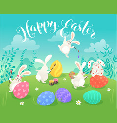 easter bunnies greeting card vector image
