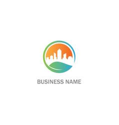 eco cityscape building environment logo vector image