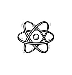 electronic atom hand drawn sketch icon vector image