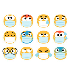 face masks emoticons vector image