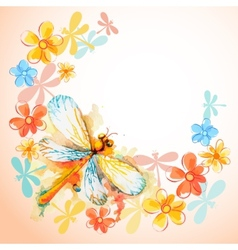 Flying Dragonflies with Flowers vector image