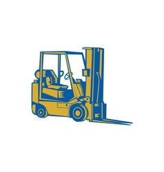 Forklift Truck Side Woodcut vector image