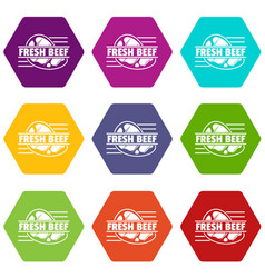fresh beef icons set 9 vector image