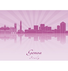Genoa skyline in purple radiant orchid vector image