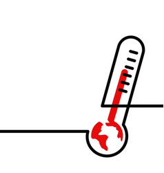 global warming earth high temperature thermometer vector image