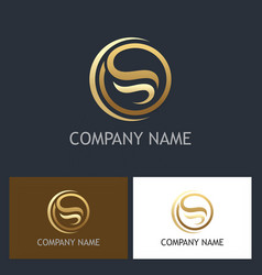 Gold abstract letter s round logo vector