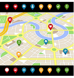 gps like imaginary city map vector image