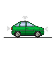 green smart car icon with sensors and radar vector image