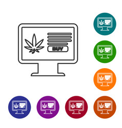 grey line computer monitor and medical marijuana vector image