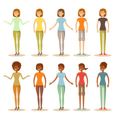 Group of women with different poses vector