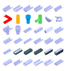 Gutter icons set isometric style vector