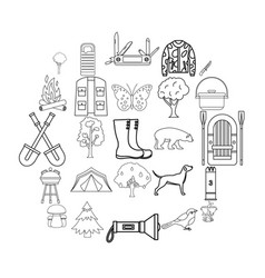 Habitat of animals icons set outline style vector