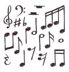 Hand drawn music note musical symbols vector