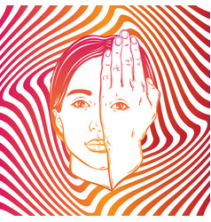 hand drawn of girl with eye on hand on the vector image