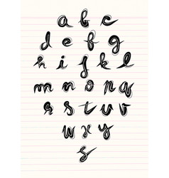 Hand made brush and ink typeface handwritten vector