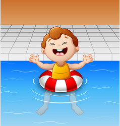 happy little boy floating in swimming pool with in vector image