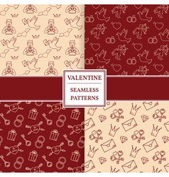 Happy valentines day pattern set Valentine seamles vector image