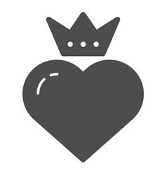 Heart with crown solid icon valentines heart vector