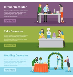 Interior design wedding decoration banners set vector