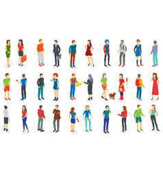isometric different people set isolated vector image