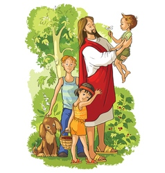 Jesus with children christian cartoon vector