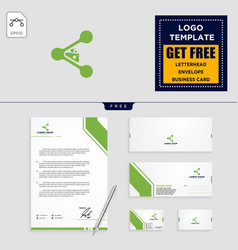 laboratory share logo template and stationery vector image