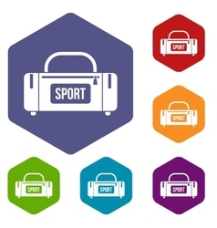 Large sports bag icons set vector