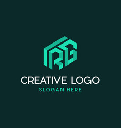 letter rg block cube modern abstract isometric vector image