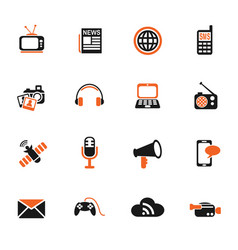 media icon set vector image