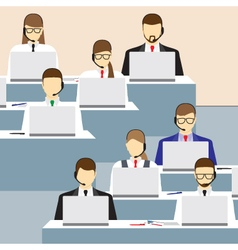 Men and women working in a call center vector image