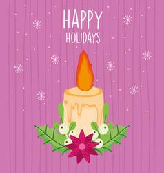 Merry christmas celebration burning candle flower vector