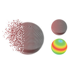 moving pixel halftone abstract sphere spectrum vector image