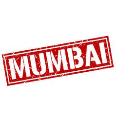 Mumbai red square stamp vector