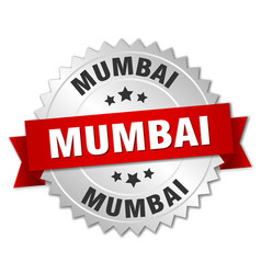 Mumbai round silver badge with red ribbon vector